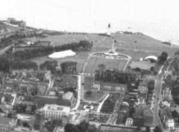 An aeriel view of Plymouth Hoe showing the original Hoe Summer Theatre