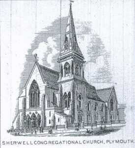 An early drawing of Sherwell Congregational Chapel, Plymouth.