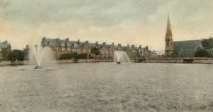 Drake's Place Reservoir with Sherwell Congregational Chapel and the houses of Queen Anne Terrace..